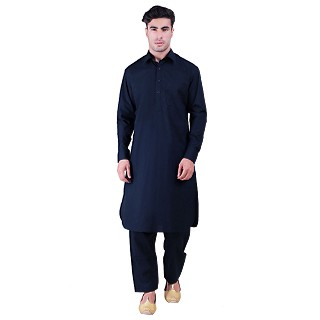Pathani suit for men with regular collar- Navy Blue