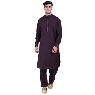 Designer Pathani Suit with mandarin collar- Purple
