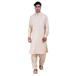 Designer Pathani Suit with mandarin collar- Beige