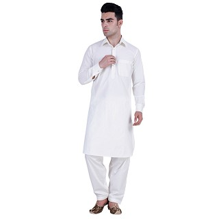Pathani suit for men with regular collar- White