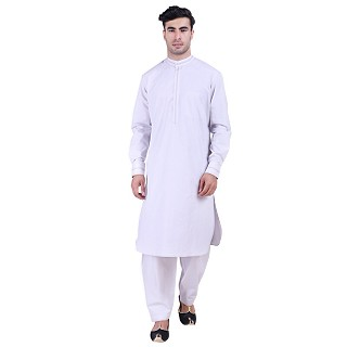 Designer Pathani Suit with mandarin collar- Grey