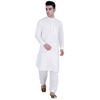 Premium Pathani Suit with mandarin collar- White