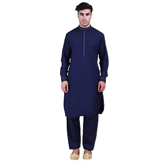 Designer Pathani Suit with mandarin collar- Navy Blue