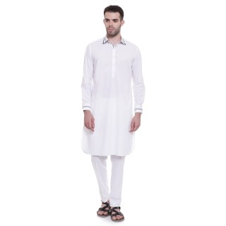 Pathani Suit -White Cotton Fabric