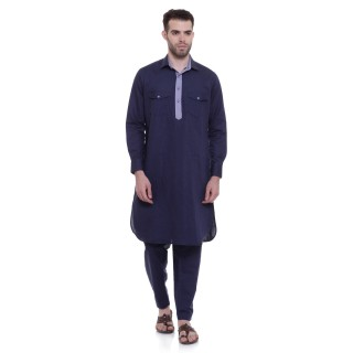 Pathani Suit -Navy Blue Cotton Fabric