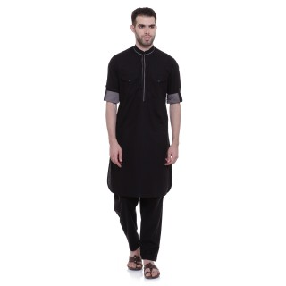 Pathani Suit -Black Cotton Fabric