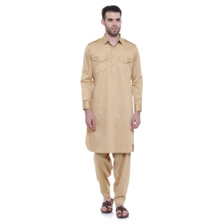 Pathani Suit -Khaki Cotton Fabric