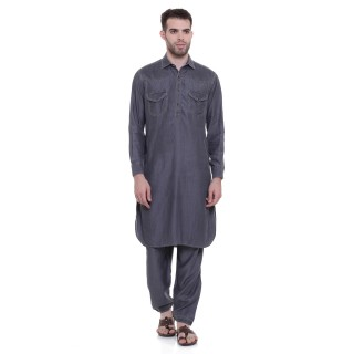 Pathani Suit -Grey Denim Colored