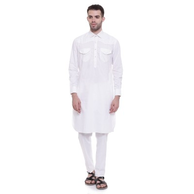 Pathani Suit - White Cotton Fabric