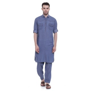 Pathani Suit - Blue Denim Cotton Fabric