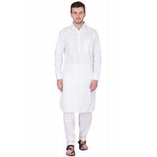 White Pathani Suit-Pure Cotton