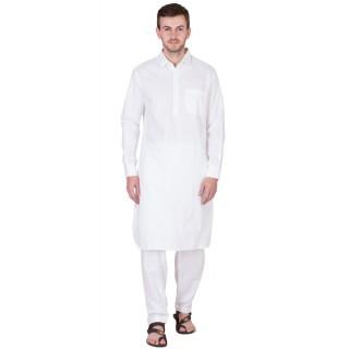 White Pathani Suit-Pure Cotton