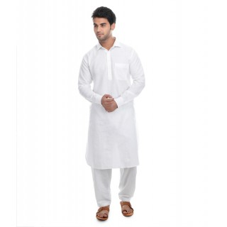 Pathani Suit -White Linen Fabric