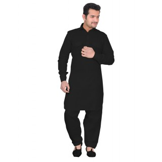 Black Pathani-suit - Cotton Fabric