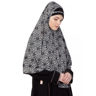 Prayer Hijab- Grey Printed
