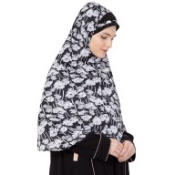 Prayer Hijab- Black & White Printed