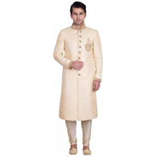 Classic Almond Colored Resham Jacquard Sherwani