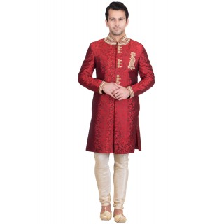 Elegant Brick Red Colored Resham Jacquard Sherwani