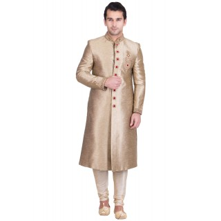 Classic Brown Colored Resham Sherwani