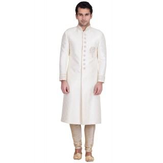 Classic Solid White Colored Resham Jacquard Sherwani