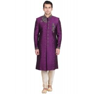 Sherwani- Violet Colored Resham Jacquard