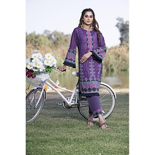 Raushan Blue Violet Printed Cotton Lawn Suits