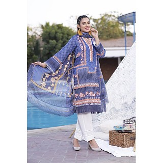 Raushan Frosted Violet Unstitched Cotton Lawn Suits