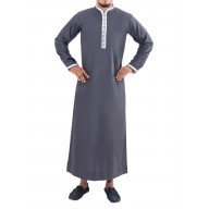 Fresh Arrival Jubbah- Ornate Grey And White