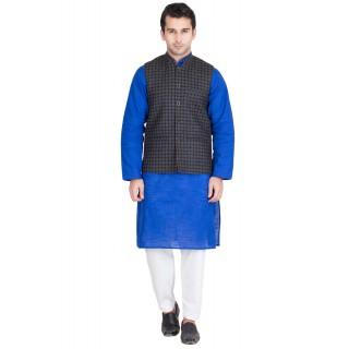 New Trend Black Checks Woollen Waistcoat For Men