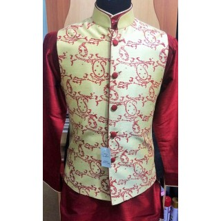 Half Coat for men- Cream colored red block printed