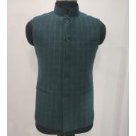 Woolen Waistcoat for Men- Green checks