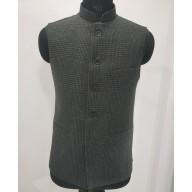 Woolen Waistcoat for Men- Grey checks