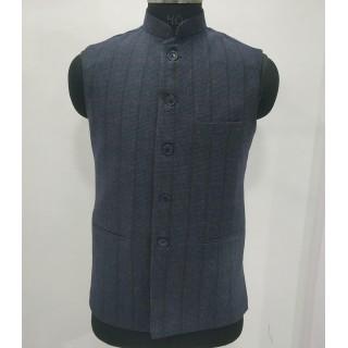 Woolen Waistcoat for Men- Blue checks