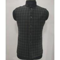 Woolen Waistcoat for Men- Black checks