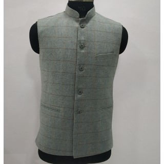 Woolen Waistcoat for Men- Silver Grey