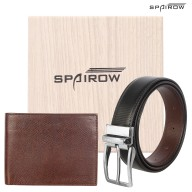 Men's Leather Wallet-Belt combo- Brown