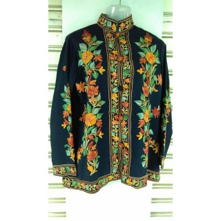 Kashmiri Woolen Jacket- Green & Yellow embroidery work