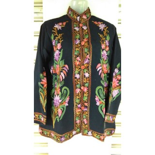 Kashmiri Woolen Jacket- Green & Pink embroidery work