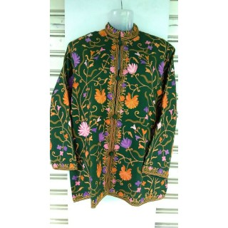 Kashmiri Woolen Jacket- Green Color with embroidery work