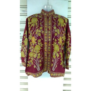 Kashmiri Woolen Short Jacket - Maroon Color with embroidery work