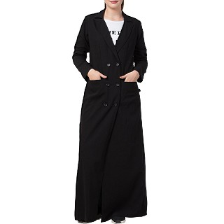 Full length Coat with front pockets- Black