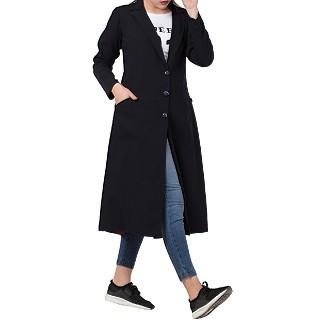 Knee length Coat for Women- Black