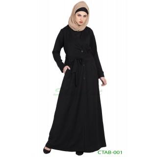 Designer Coat abaya- Black