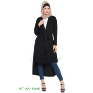 Long Jacket with a belt- Black