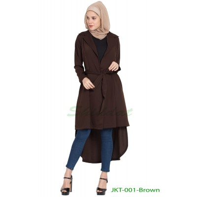 Long Jacket with a belt- Brown
