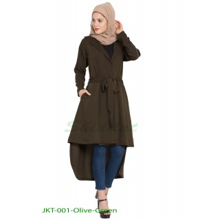 Long Jacket with a belt- Olive Green