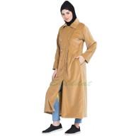 Women's Velvet coat- Beige color