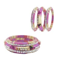 Rajasthani Set Of 6 Lac Bangles With Kada Set Of Women (Hot Pink Color)
