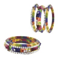 Rajasthani Set Of 6 Lac Bangles With Kada Set Of Women (Multi Color)