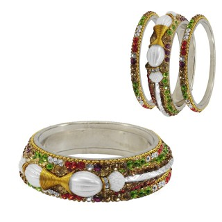 Unique Set Of 6 Metal Bangles With Kada Set Of Women (Multi Color)